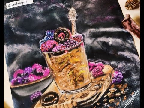 Dessert with Berries / Soft Pastels / Food Painting / Project from 100 days / Day #57