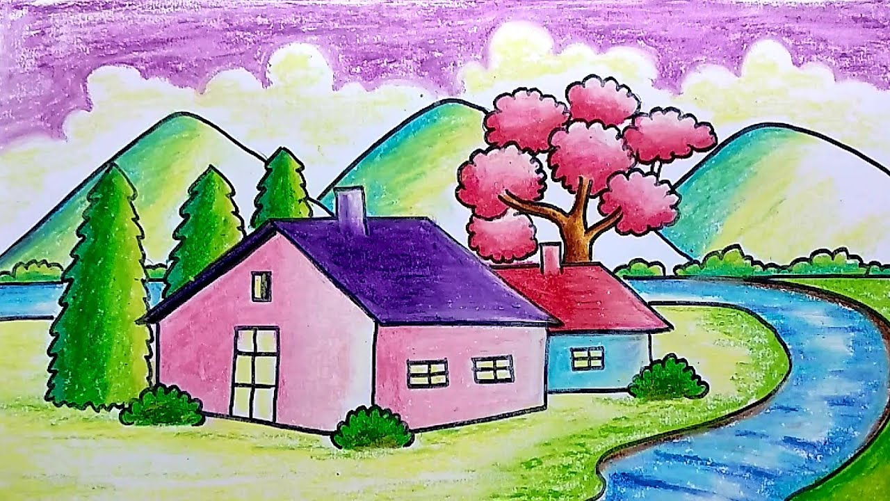 How To Draw Simple Scenery For Kids Drawing For