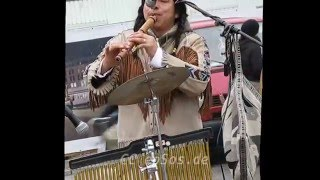Native American Indian pretending to Play Music in Berlin
