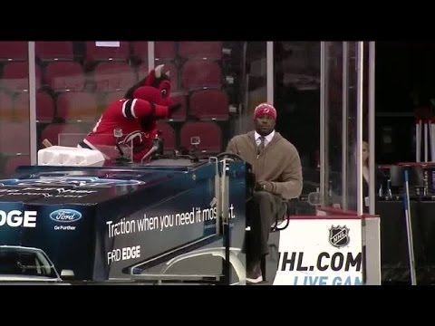 """Shaq drives the Zamboni in Newark"""