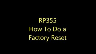 digitech rp355 how to do a factory reset