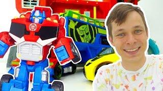 Игрушки для мальчиков: Оптимус Прайм и Бамблби - база Автоботов! Игры для мальчиков в машинки.