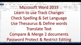 Microsoft Word 2013/2016 pt 8 (Spelling, Track Changes, Password Protect)