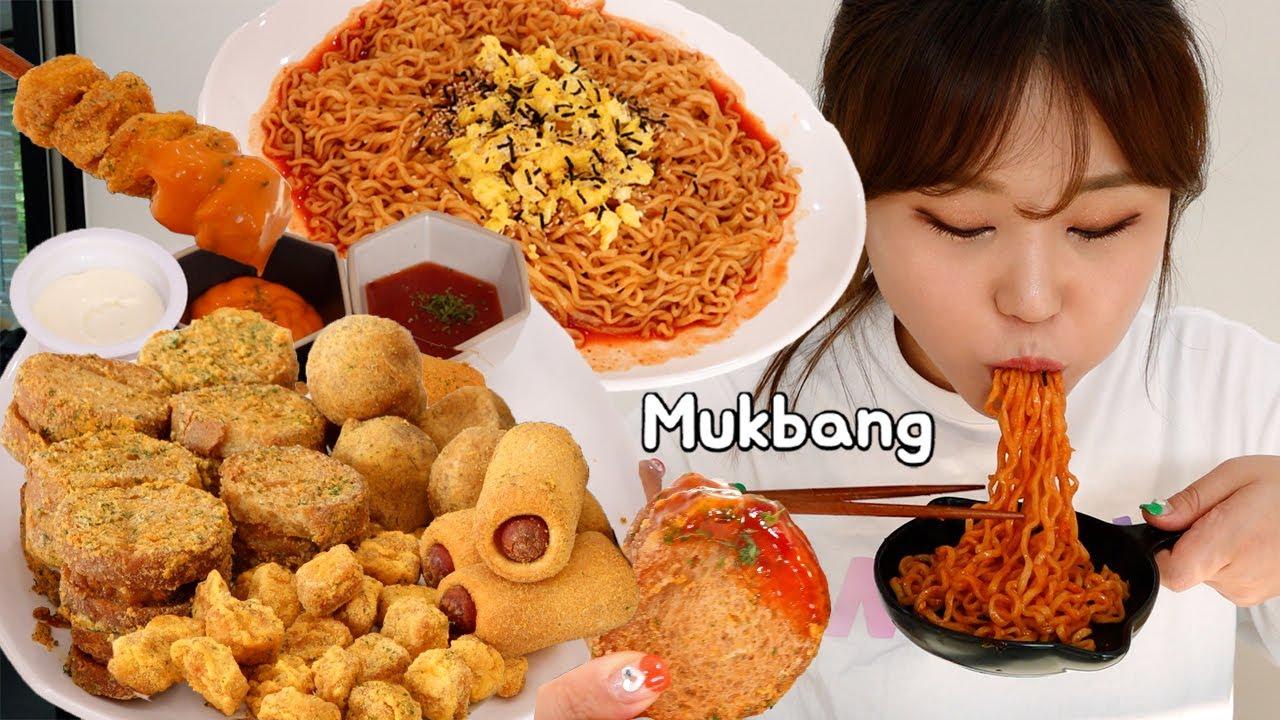 불닭볶음면 좀 더 맛있게 먹기 😎 뿌링클 사이드 신메뉴 멘보샤, 핫도그, 뿌링콜팝 먹방 Mukbang