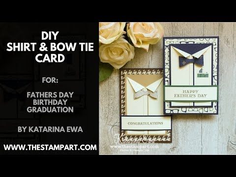 DIY shirt and bow tie card tutorial with Stampin' Up! True Gentleman Designer Series Paper