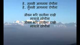 Tulsi Aaganma Ropaula karaoke with nepali lyrics.3