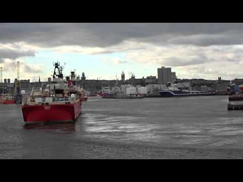 Technip Orelia Diving Support Ship entering Aberdeen Harbour