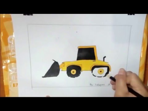 รถแบ็คโฮ, รถโจก, รถการ์ตูน ,วาดภาพระบายสี, backhoe ,excavator ,car cartoon ,drawing