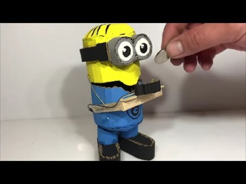 How to make your own hands Minions from a cardboard that eats coins. Coin Bank Box