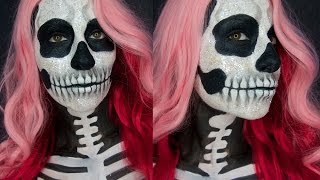 Skull Make-up | Glitter Skeleton Face Paint Tutorial | Gia Vittoria