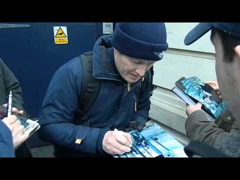 Nick Moran signing autographs outside the Garrick Theatre, London 05/12/13