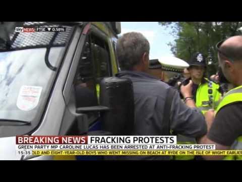MP Caroline Lucas  arrested at Cuadrilla anti-fracking protests  #frackoff: