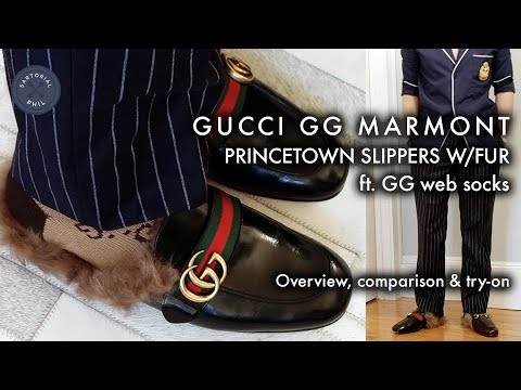 Gucci GG Marmont Princetown Slippers w/Fur: Review, comparison and try-on