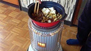 柿酢の状態とウコッケイの卵と石油ストーブ料理
