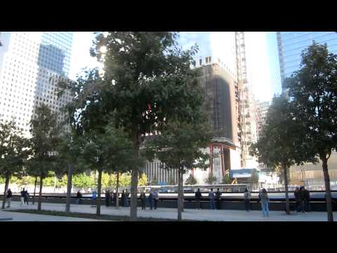 """9/11 Memorial Site:  """"Reflecting Absence"""" - October 8, 2011 - New York City."""