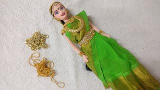 DIY traditional Barbie with saree draping# Kundan jewelry#kalpana saranam