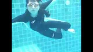asian girl in pool