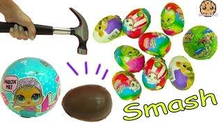 Hammer Smashing Shopkins Surprise Chocolate Eggs + LOL Surprise Baby Blind Bag Balls