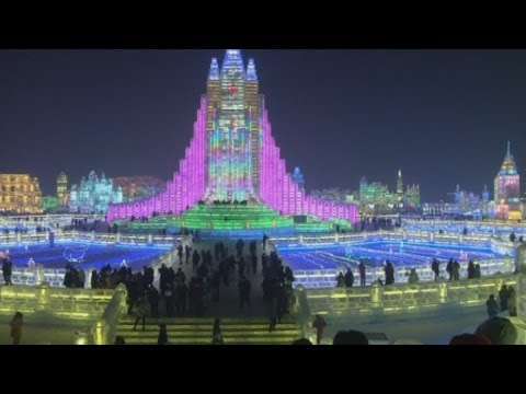 Full-size bridge, castle and church sculptures shown off at Chinese ice festival