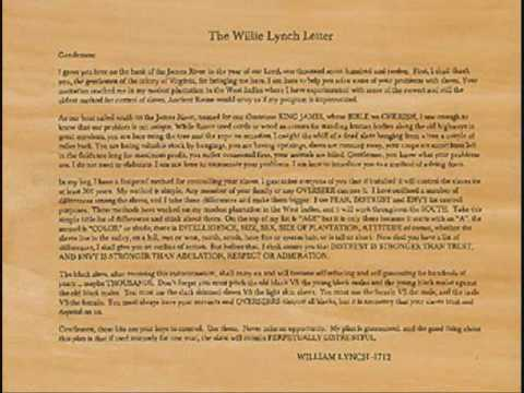 willie lynch syndrome effect on the Understanding racism to end its effects the first major effect of the myth of racism occurred with the enslavement of the african in north america during chattel slavery for over four hundred years in the infamous willie lynch letter of 1712.