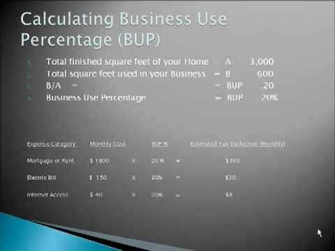 Tax savings Home Based Business – Business Use Percentage  BUP