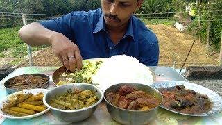 Big Rice with 7 Items (Veg & Non Veg) - Tel Koi Fish Jhal - Katoa Data -Echor Kopta -Pui Shak Mituli