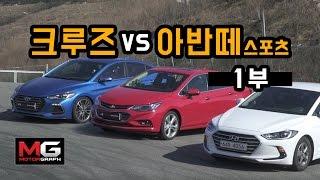 현대 아반떼 스포츠 vs 쉐보레 크루즈 비교 시승기(1/2)...내외관 세밀하게 살펴보니(feat. 아반떼)