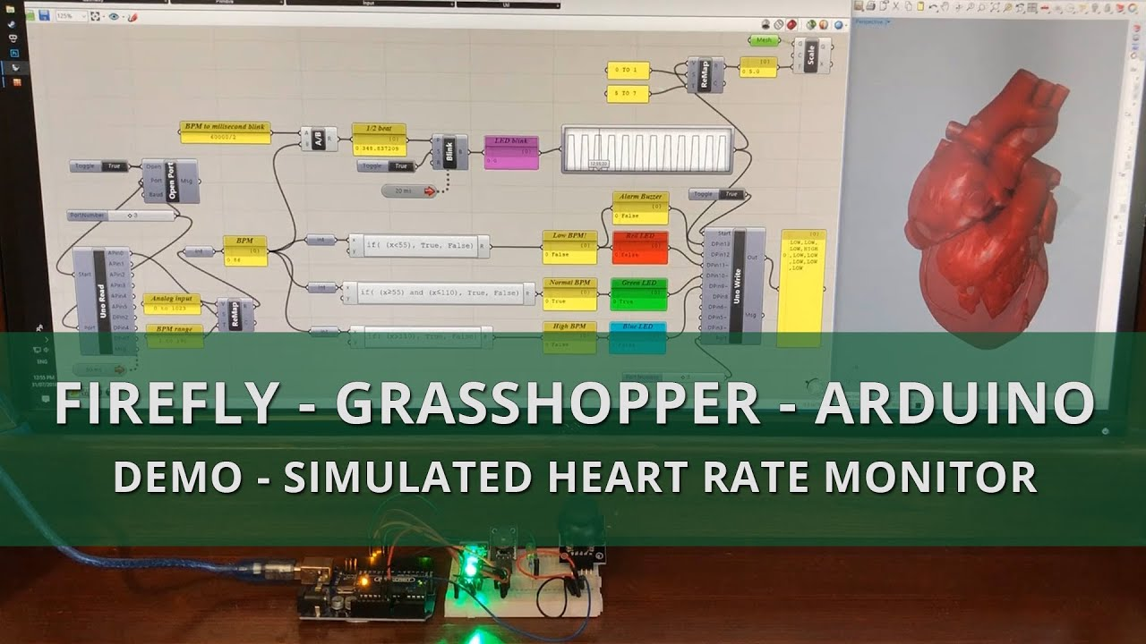 Firefly Grasshopper Arduino Demo - Simulated heart rate monitor