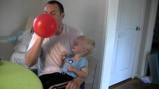 Micah Laughing Hysterically at Balloons