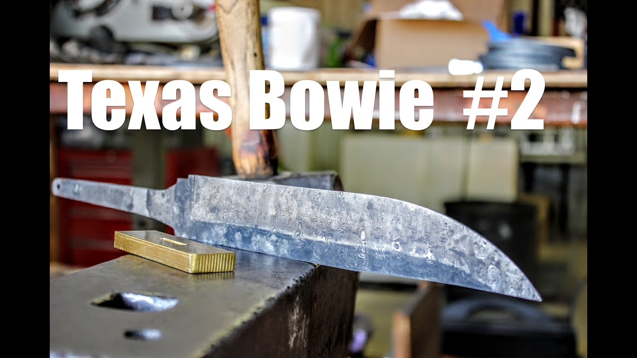 Forging A Damascus Knife From Saw Steel: First Bowie In Texas Part 2, Bladesmithing and Knifemaking