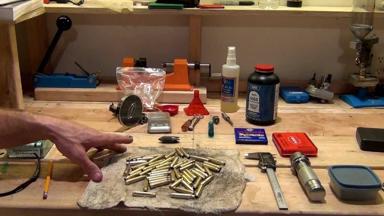 Reloading  223 Remington - 50 rounds on a single stage press from start to  finish - HD