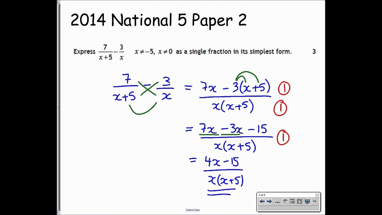National 5 - Algebraic Fractions 6 - Exam Type Questions - YouTube