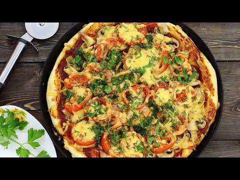 Вкуснейшее блюдо Пицца с курицей и грибами  видео рецепт