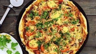 Пицца с курицей и грибами — видео рецепт