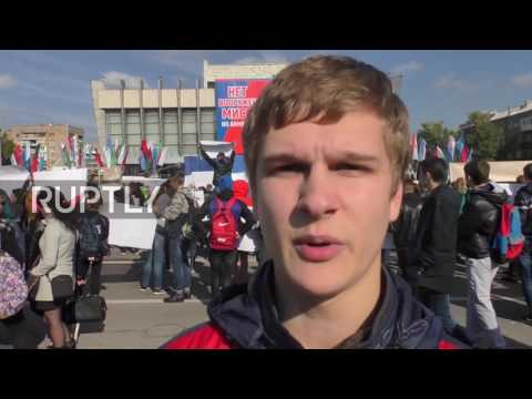 Ukraine: Thousands rally in Lugansk against proposed 'armed mission'