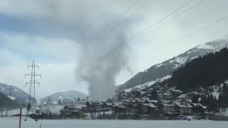 Beautiful Snow Tornado Whips Through Village