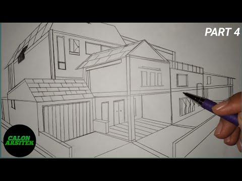 Menggambar Rumah 2 Lantai Modern Perspektif Dua Titik Hilang Part 4 Calon Arsitek Youtube