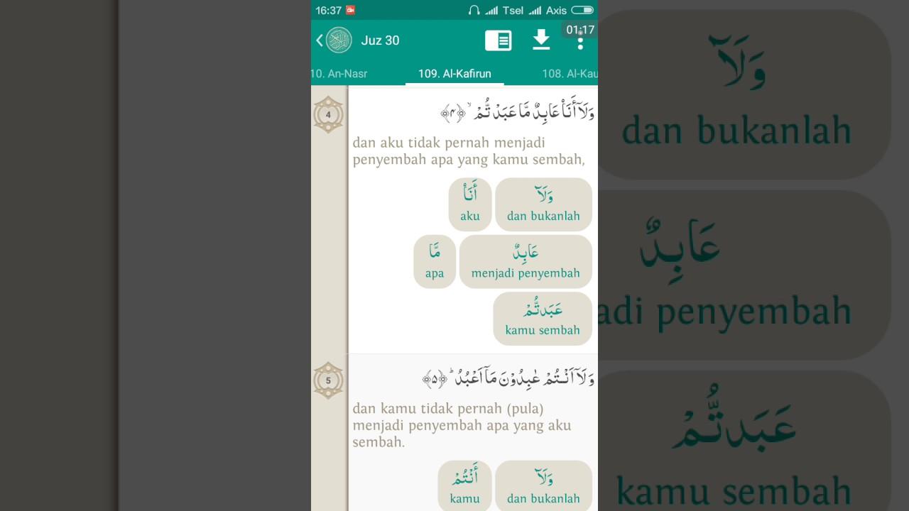 109surat Al Kafirun Teks Terjemah Per Kata Audio Oleh Abi Zikri