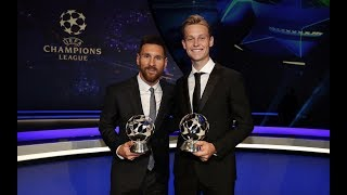 MESSI & DE JONG'S REACTIONS | Champions League awards and draw