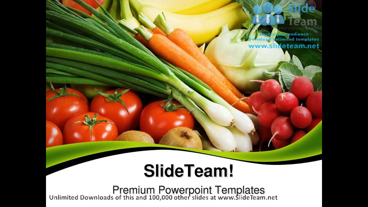 assortment of fresh vegetables food powerpoint templates themes, Modern powerpoint