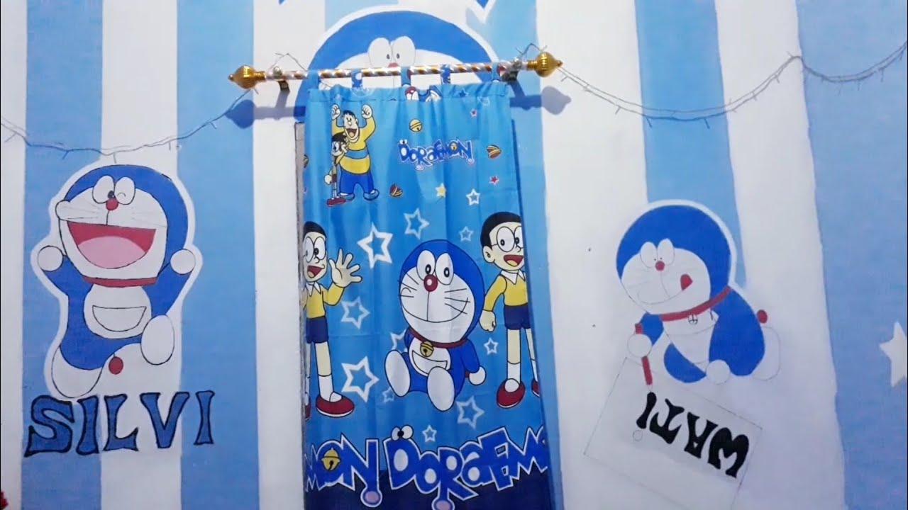 Menghias Kamar Tidur Serba Gambar Doraemon Dengan Lampu Hias Youtube