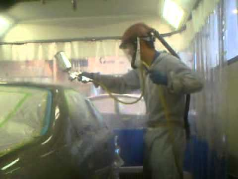 Spraying Clear Coat on Chevy malibu - UTI Houston