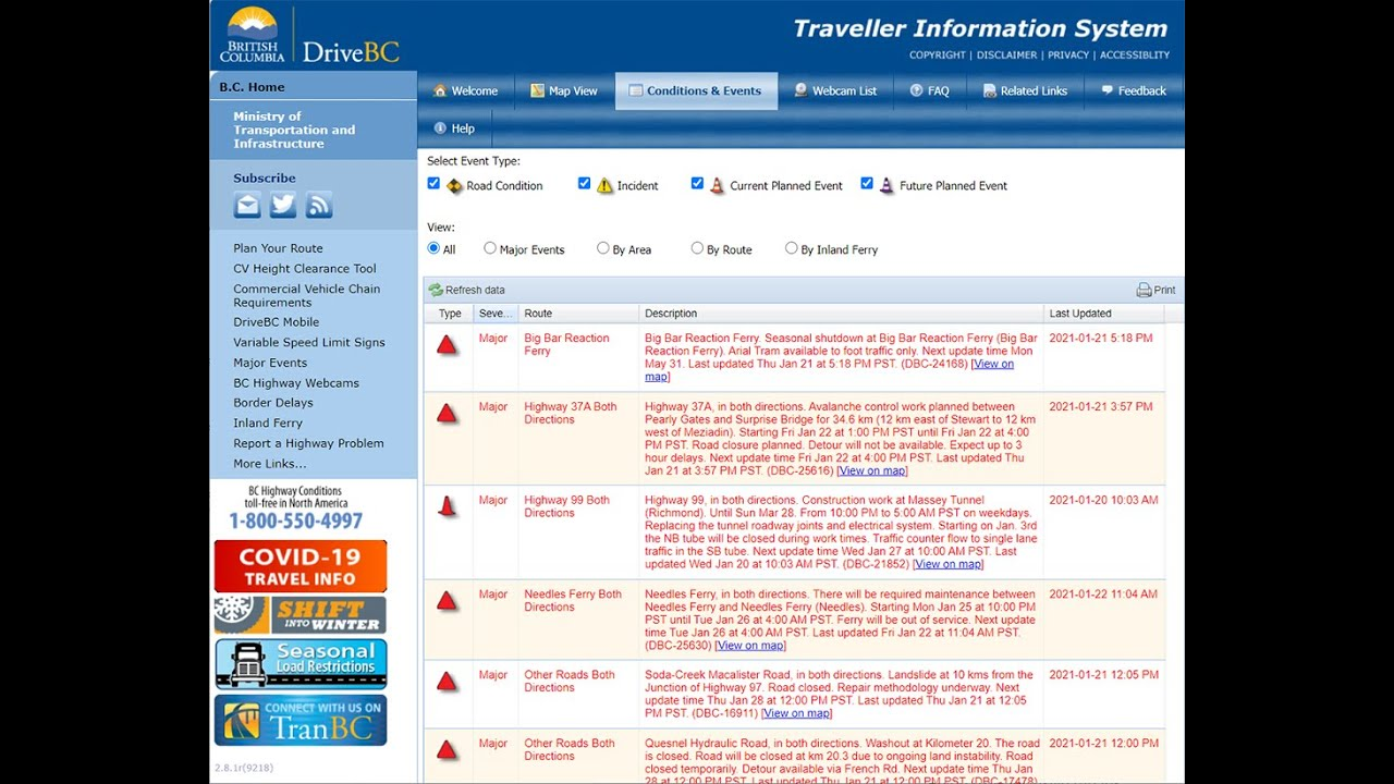Touring DriveBC: Road Conditions and Event Listings