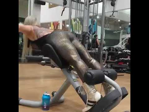 SEXY Girl works out legs and butt in BLACK SPANDEX