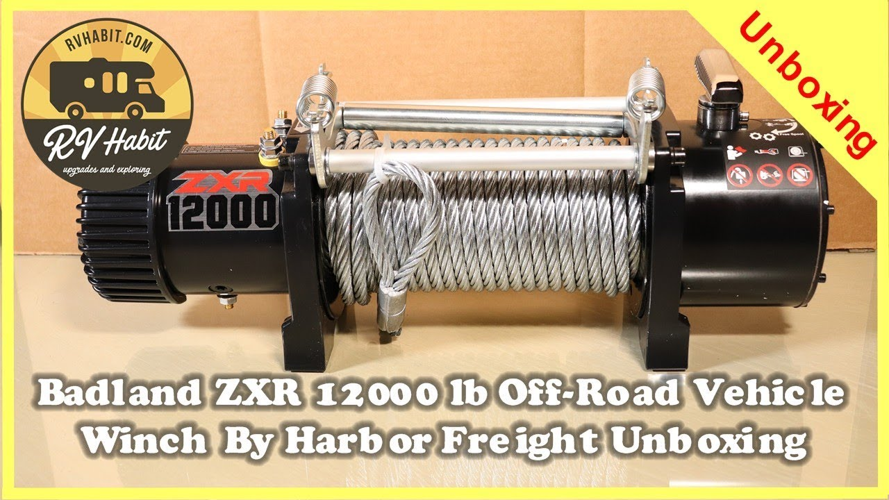 badland zxr 12000 lb capacity off road vehicle winch unboxing harbor freight [ 1280 x 720 Pixel ]