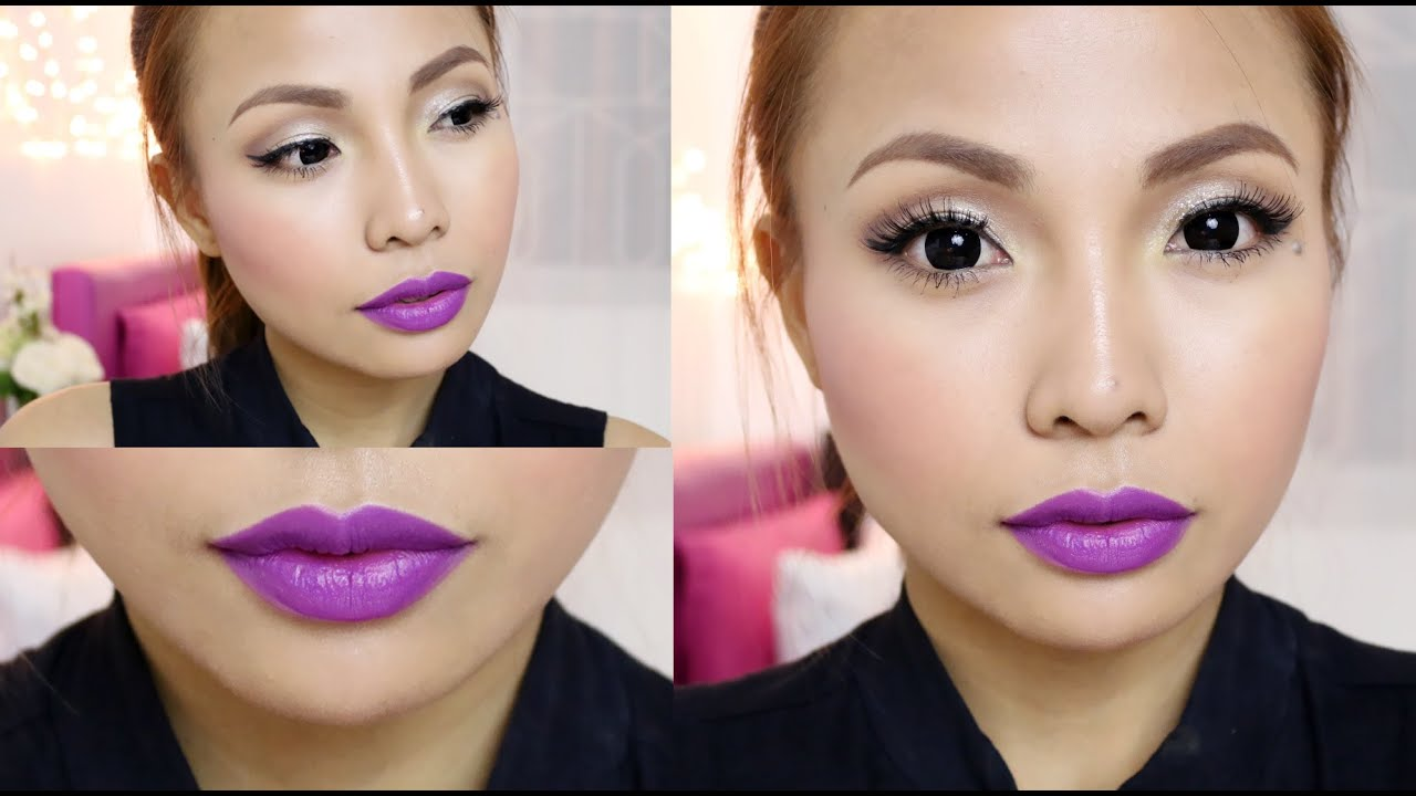 Purple Lips GLAM Make Up Tutorial (Clubbing) - YouTube