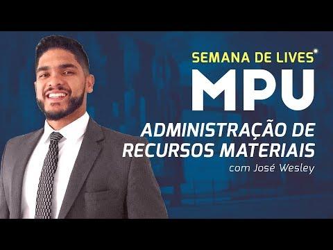 MPU 2018: Administração de Recursos Materiais   Prof. José Wesley