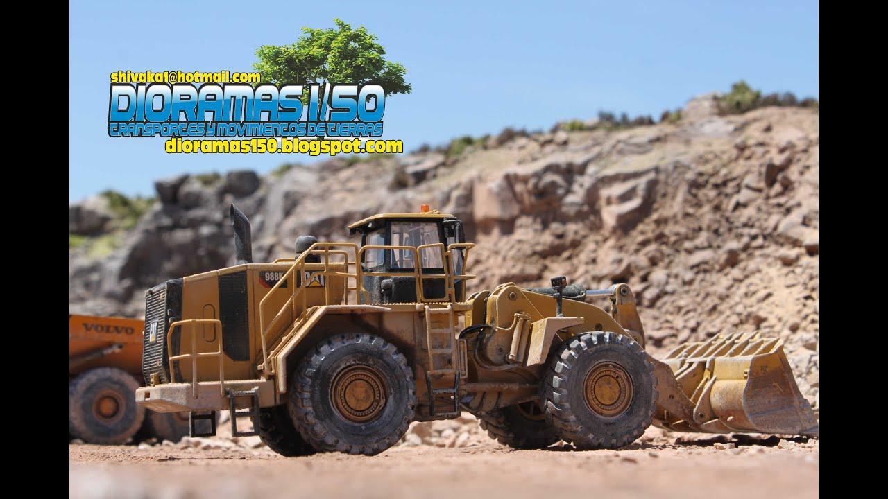 DIORAMA 1/50 - Caterpillar 988K - Komatsu D375 - Volvo A40D - YouTube