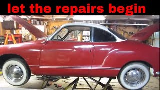 Welding up the 1965 vw karman ghia.