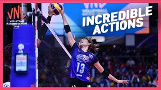 Incredible Actions | Women's VNL Volleyball 2019